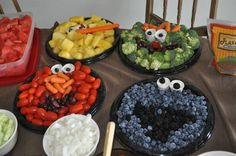 sesame street party food :) This would be cool for little Jax's 2nd bday!