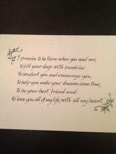 CUSTOM Wedding Vows, Family Prayers, Bible Verses on Paper -  Expert Calligraphy by Liz. $40.00, via Etsy.