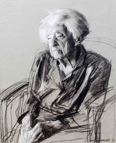 Robert Hannaford. Muriel Sandicock aged 102. charcoal and chalk 2011