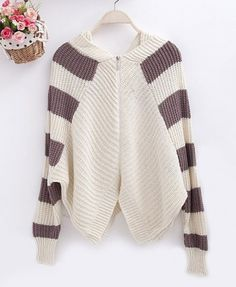 Hooded Cardigan with Stripes in Contrast Color - Cardigans - Knitwear - Clothing