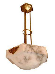 Art Deco ceiling lamp - bronze frame - alabaster in a rare hexagonal shape