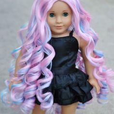 """""""Cotton Candy Curls"""" Premium Custom Doll Wig for 18 Inch American Girls - Britlyn Madison Custom Doll Wigs"""