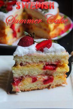 YUMMY TUMMY: Swedish Summer Cake Recipe / Strawberry Cream Cake Recipe