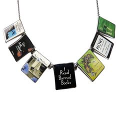 Banned Book Necklace  To Kill a Mockingbird, The Color Purple, Go Ask Alice, Adventures of Huckleberry Finn, Howl, Annie on My Mind, and Alice in Wonderland