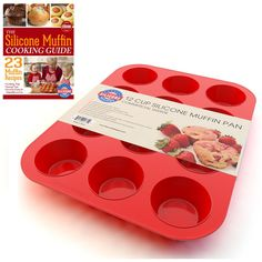 Silicone Muffin Pan and Cupcake Maker 12 Cup, Red, Plus Muffin Recipe Ebook >>> New and awesome product awaits you, Read it now  : home diy kitchen