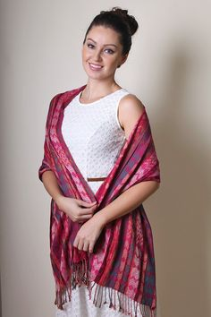 Women's Amelia Chevron Jacquard Weave Silky Soft Fashion Scarf at Amazon Women's Clothing store: Fashion Scarves, Gorgeous infinity loop scarf, premium jacquard weave, chevron self pattern, rich, trendy, stylish, shades of pink, magenta, emerald, tangerine, white, STUNNING, pretty shawls, circle loop scarf, wraps, midweight shawl, holiday scarves, holiday gifts, ikat, casual wear