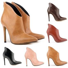 WOMENS  PLATFORM ANKLE BOOTS SHOES FAUX LEATHER HIGH STILETTO HEEL US4-11 LADIES #Loslandifen #FashionAnkle