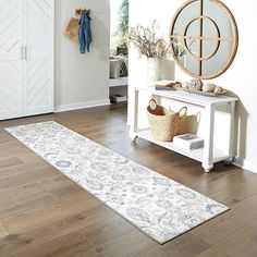 Maples Rugs Blooming Damask Non Slip Runner Rug For Hallway Entry Way Floor Carpet [Made in USA], x Gray/Blue Types Of Furniture, Furniture Plans, Damask Rug, Hall Stand, Dresser Storage, Hallway Furniture, Entry Hallway, Rug Runner, Interior Inspiration