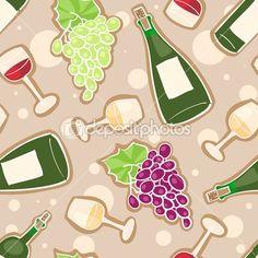 Víno bezešvé vzor - Burzovní vektor # 13714924
