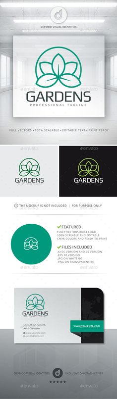 Gardens Logo — Vector EPS #ecologic #nature • Available here → https://graphicriver.net/item/gardens-logo/13613931?ref=pxcr