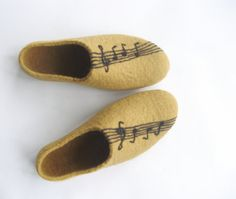 Music Man Felted Slippers with Felt Melody Violin Black by ekohaus, $87.00