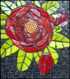 Mosaic Rose by Leena Nio Mosaic Diy, Mosaic Garden, Mosaic Crafts, Mosaic Projects, Mosaic Tiles, Mosaic Rocks, Mosaic Glass, Glass Art, Stained Glass
