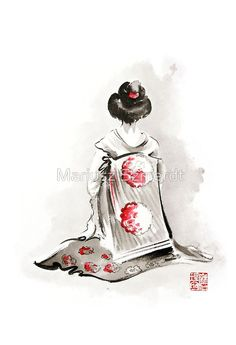 Geisha girl drawing large poster, japanese woman watercolor art ...