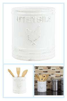 Home Basics Rustic Chic Rooster Ceramic Utensil Holder In White - Keep your kitchen utensils organized with this Rustic Chic Rooster Utensil Holder from Home Basics. This charming utensil crock is solidly built out of weighted ceramic to hold even the bulkiest stash of cooking utensils without tipping over. - kitchen gadgets Cooking Utensil Holder, Kitchen Utensil Organization, Ceramic Utensil Holder, Cooking Spoon, Cooking Utensils, Kitchen Utensils, Kitchen Gadgets, White Bedding, Rustic Chic