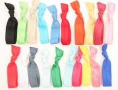 15 Ribbon Hair Tie Bracelets Grab Bag - Yoga Hair Elastics - Emi Jay Like Cloth Hair Bands, Hair Tie Scrunchies - Women's Hair Accessories