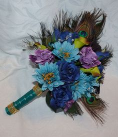 Wedding bouquet set peacock feather bouquets and accessories