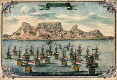 "Cape Town – the ""Tavern of the Seas"" – being approached by a fleet of Dutch ships, as it appeared in 1680, three decades after its foundation, South Africa"