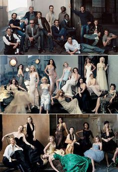 Annie Leibovitz Vanity Fair group shots - Basically everyone have there arms bent, Someone lay down and girls slouch.