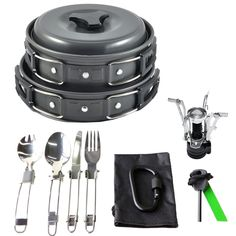 Amazon.com : 17Pcs Camping Cookware Mess Kit Backpacking Gear & Hiking Outdoors Bug Out Bag Cooking Equipment Cookset | Lightweight, Compact, & Durable Pot Pan Bowls (Black) : Sports & Outdoors | @giftryapp