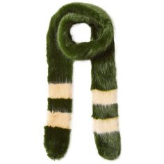 Shrimps Faux Fur Scarf ($185) ❤ liked on Polyvore featuring accessories, scarves, green, striped scarves, green shawl, green scarves, fake fur shawl and striped shawl