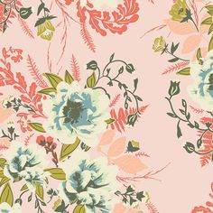 Pink Blue and Green Floral Fabric Forest by RaspberryCreekFabric