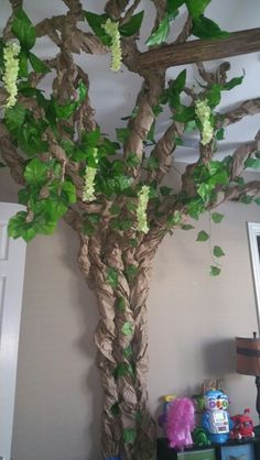 Paper tree with leaves and flowers. Rainforest toy room, game room, bedroom, nursery