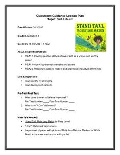 """""""Stand Tall, Molly Lou Melon"""" Lesson Plan and Worksheet for Grades 45 minute lesson aligned to ASCA Standards. Self Esteem Activities, Social Emotional Activities, Teaching Kindergarten, Teaching Ideas, Asca Standards, Character Traits Activities, 2nd Grade Class, Media Literacy"""
