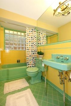 Rare Lime Green And Yellow Antique Bathroom Design