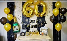 45 ideas adult birthday party decorations for men 70th Birthday Parties, Birthday Party Tables, Happy Birthday Banners, Dad Birthday, 30th Birthday Ideas For Men Surprise, 60 Birthday Party Ideas, 60th Birthday Balloons, Birthday Cake, Birthday Party Table Decorations