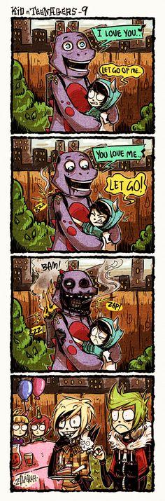 +KnT - Who Invited The Dino?+ by Z-Doodler.deviantart.com on @DeviantArt
