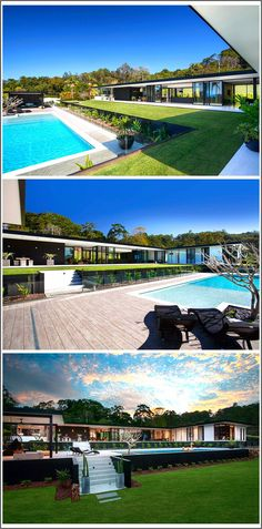 At the rear of this home, there's lawn area before stepping down to the swimming pool surrounded by lush landscaping, that helps to create a resort-like atmosphere. landscaping australian See Inside The Home This Architect Designed For Her Own Family Modern Architecture Design, Modern House Design, Casas Containers, Large Backyard, Indoor Outdoor Living, Glass House, Pool Designs, Backyard Landscaping, Landscaping Ideas