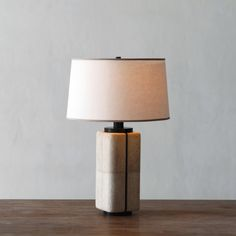 Alexander Lamont Canister Lamp in shagreen bronze and linen shade