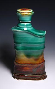 Skinny ceramic flask   - Hawkeye Design by James Diem