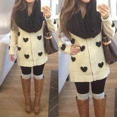 Cute Heart Sweater | Women's Fashion