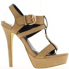 Kamel 14,5 cm high Heels Sandaletten. Offset-Effekt eine 4cm-Plattform: 10,5 cm Ferse fühlte. Leder-Optik. Ein breiten verstellbaren Schnalle Riemen hält den Fuß. Ferse Ende. Schuhe Frauen sehr feminin. Synthetische Materialien. Boardgröße: nehmen Sie Ihre übliche Größe Sandalen Frauen Stöckelschuhe.