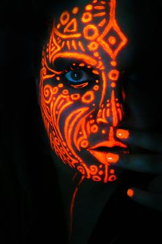 Neon Queen of Orange by BlackMagdalena.<< not so tribal but cool inspiration, the idea I'm getting at Neon Painting, Light Painting, Body Painting, Painting Art, Uv Makeup, Dark Makeup, Black Light Makeup, Face Paint Makeup, Maquillage Phosphorescent