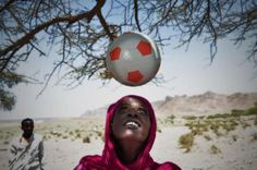 Maymun Muhyadine Mohamed - her husband was murdered because he refused to stop her playing soccer, and she had to flee her country. From UNHCR / G.Beals