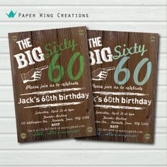 60th birthday invitation. Rustic Wood Adult Birthday Invite. Graffiti man birthday Surprise birthday. The Big Sixty 60 printable invite AB39...
