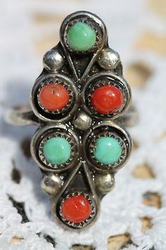 Vintage Southwestern Tribal Sterling Silver Turquoise & Red Branch Coral Ring