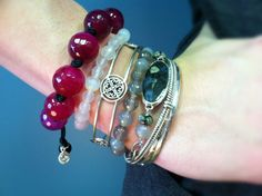 Cool palette with a pop of burgandy.  Arm Candy from Willow House Jewelry by Sara Blaine.