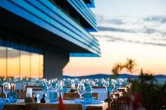 watch the sunset forever. Spa Hotel, Places To Visit, Restaurant, Table Decorations, Sunset, Building, Design, Travel, Watch