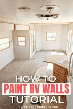 She shares her exact process for painting interior RV walls, ceiling and cabinets. The super easy step by step tutorial for how to paint RV walls is amazing! Pinning these RV paint and remodel ideas for later! #joyfullygrowingblog #rvpaint #rvremodel #rvrenovation