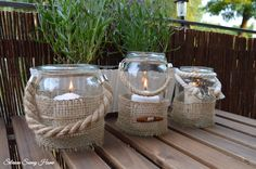DIY Mason Jar Lanterns,  Lampiony z jutą i sznurem
