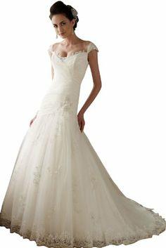DAPENE Tulle Allover Lace Cap Sleeves A-line Wedding Bridal Gown Dress White DAPENE,http://www.amazon.com/dp/B00C83BO02/ref=cm_sw_r_pi_dp_EiyDtb0P8QNQD8S0