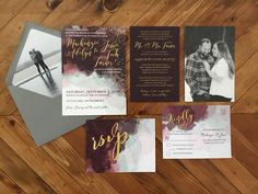 Watercolor Wedding Invitation Suite with Gold accents || New designs from DayDreamin'Engineer