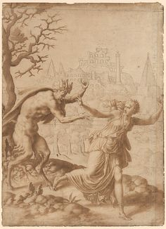A Satyr Pursuing a Nymph  Anonymous, French, School of Fontainebleau, 16th century, pen and brown ink over traces of black chalk