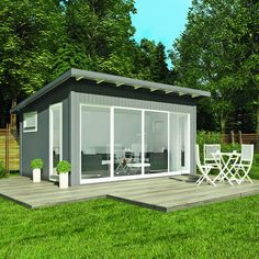 Building a shed is a popular solution for creating storage space outside the house. Whether you are thinking about having a go and building a shed yourself Backyard Office, Backyard Studio, Backyard Sheds, Garden Office, Strand Pool, Metal Garden Furniture, Garden Cabins, Studio Shed, Modern Bungalow House