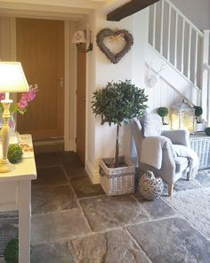 (Diy Garden Stairs Hallway with stone tiles … comfortable chair and a touch of green …. (Diy Garden Stairs hallway with Ste House Design, Decor, House Interior, Cottage Interiors, Stone Flooring, Stone Tiles, Home Decor, Hallway Decorating, Garden Stairs