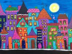 City Homes- DIGITAL DOWNLOAD, acrylic, original, wall decor, bright, colorful, whimsical, moonlight,