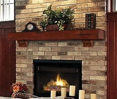 """Rustic Cherry Pine Wood Mantel Shelf Fireplace Pearl. We need a 55"""". Like this color"""
